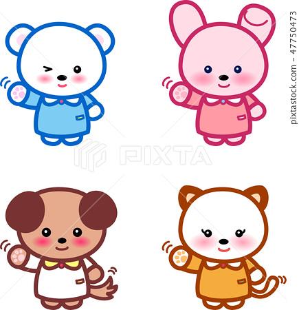 동물 귀여운 동물 곰 토끼 씨 개 씨 고양이 씨 47750473