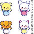동물 귀여운 동물 곰 토끼 씨 개 씨 고양이 씨 47751100