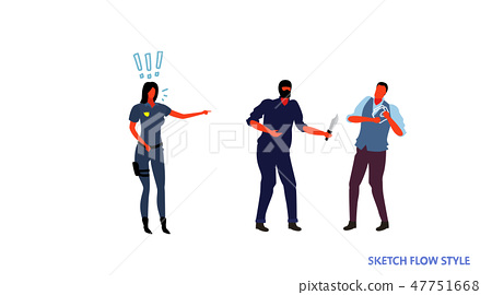 policeman female officer trying to control masked thief holding knife attacking man with wallet 47751668