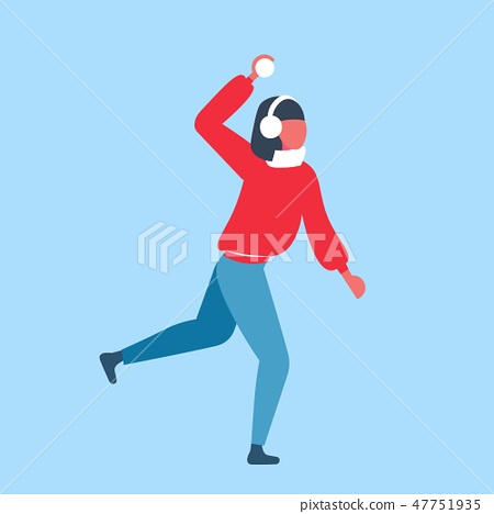 woman playing snowball fights girl throwing snow ball wearing winter clothes female cartoon 47751935