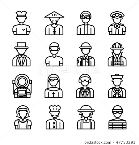 Career avatar character outline vector set 47753293