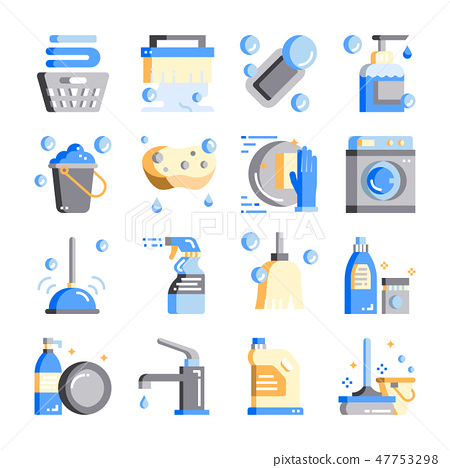 Cleaning-hygiene flat design vector icon set 47753298