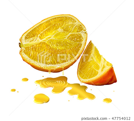 Digital Painting of Orange Fruit and Juice Isolated on White Background 47754012