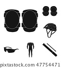 Bicycle outfit black icons in set collection for design. Bicycle and tool vector symbol stock web 47754471