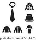 Different kinds of clothes black icons in set collection for design. Clothes and style vector symbol 47754475