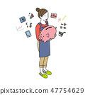 有存錢罐的一位女性等量以圖例解釋者主婦 47754629