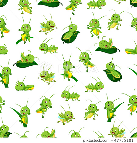 Seamless pattern with grasshopper cartoon 47755181