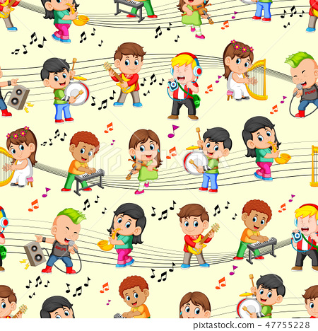 Seamles pattern with happy childrens playing music 47755228