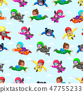 Seamless pattern with professional skydivers 47755233