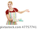 housewife kitchen apron making inviting welcome gesture 47757741