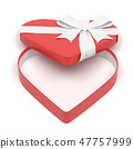 Red gift box in heart shape. Open empty container decorated with white ribbon bow. 3d rendering 47757999
