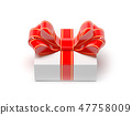 Gift box wrapped with red decoration ribbon. 3d rendering illustration 47758009