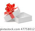 Gift box wrapped with red decoration ribbon. Open empty box. 3d rendering illustration 47758012