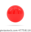 Red ball. Shiny sphere on white background. 3d render illustration 47758116