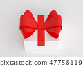 Gift box. White carton with red ribbon. 3d render illustration 47758119