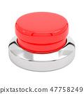 Red push button. Alert element. 3d render illustration 47758249