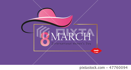 womans day 8th march elegant greeting card with hat and red lips 47760094