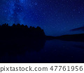 Milky way,star tracks upon forest.Starry night sky 47761956