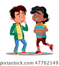 Asian And African Boys Holding Belly Laughing Funny Together Vector. Isolated Illustration 47762149
