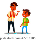 Two Indian Boys Talking To Each Other Vector. Isolated Illustration 47762185