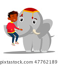 Elephant Holds A Indian Boy On Trunk Vector. Isolated Illustration 47762189