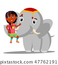 Elephant Holds A Little Indian Girl On Trunk Vector. Isolated Illustration 47762191