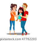 Two White Parents Holding The Hands Of Asian Adopted Child Vector. Isolated Illustration 47762203