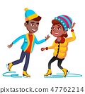 Afro Americal Girl And Boy In Winter Clothes Skating On Ice Vector. Isolated Illustration 47762214