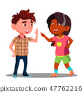 Girl And Boy Makes Fingers Appointment Vector. Isolated Illustration 47762216