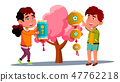 Asian Little Boy And Girl Hanging Chinese Red Lantern On Tree Vector. Isolated Illustration 47762218