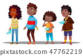 African Children Waiting In Line With Empty Plates For Social Dinner Vector. Isolated Illustration 47762219