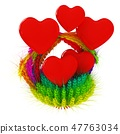 Heart in colored basket of the ears of wheat. 47763034
