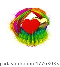 Heart in colored basket of the ears of wheat. 47763035
