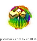 Heart in colored basket of the ears of wheat.  47763036