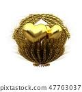 Golden Heart in golden basket of the ears of wheat 47763037