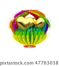Golden Heart in colored basket of ears of wheat 47763038