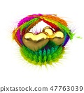 Golden Heart in colored basket of ears of wheat 47763039