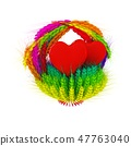 Heart in colored basket of the ears of wheat 47763040