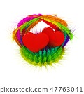 Heart in colored basket of the ears of wheat 47763041