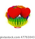 Heart in colored basket of the ears of wheat 47763043