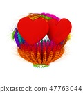 Heart in colored basket of the ears of wheat 47763044
