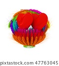 Heart in colored basket of the ears of wheat 47763045