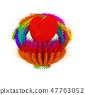Heart in colored basket of the ears of wheat. 47763052