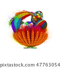 Colored basket of ears of wheat with Easter eggs 47763054