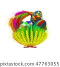Colored basket of ears of wheat with Easter eggs 47763055