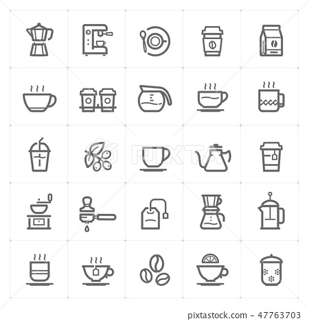 Icon set – coffee and tea outline stroke  47763703