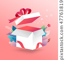 Lucky box, opened white present box with red ribbon. Sale concept design, give away promotion 47763819