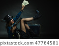 Steampunk girl with cash. 47764581