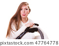 Funny girl with vacuum cleaner. Housework 47764778