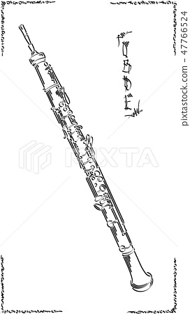 Graphic arts sketch of drawing oboe. 47766524